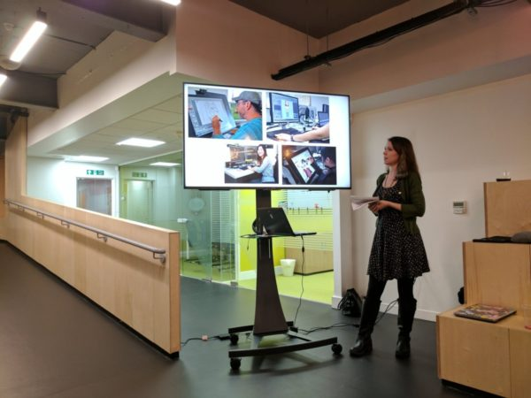 Mair Perkins speaking about animation at Women in Tech Nottingham