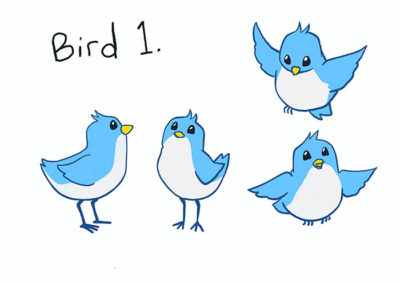 carton bird character design option 1