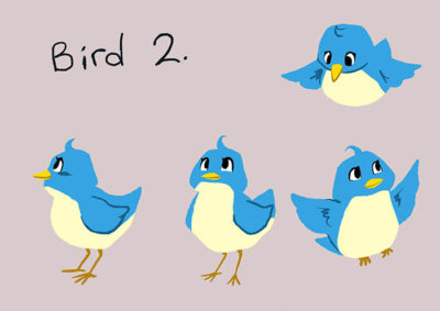 carton bird character design option 2
