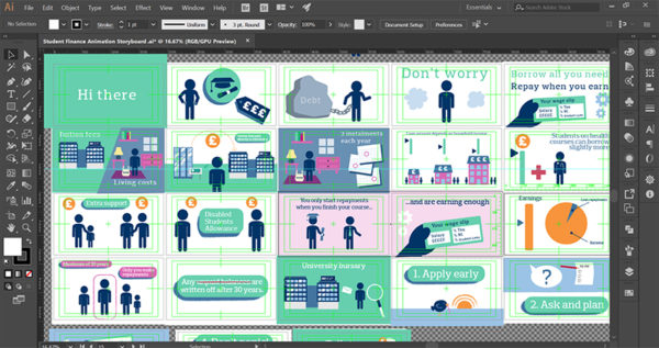 Student finance explainer animation storyboards in Adobe Illustrator