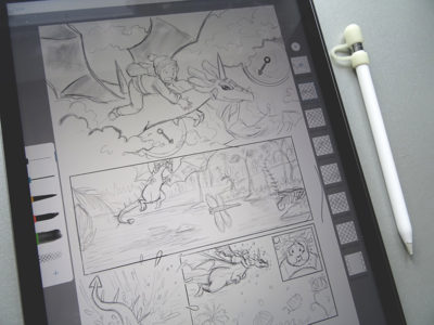 Drawing the comic pencil art on an iPad Pro.