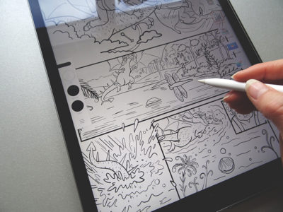 Inking the comic line art on an iPad Pro.