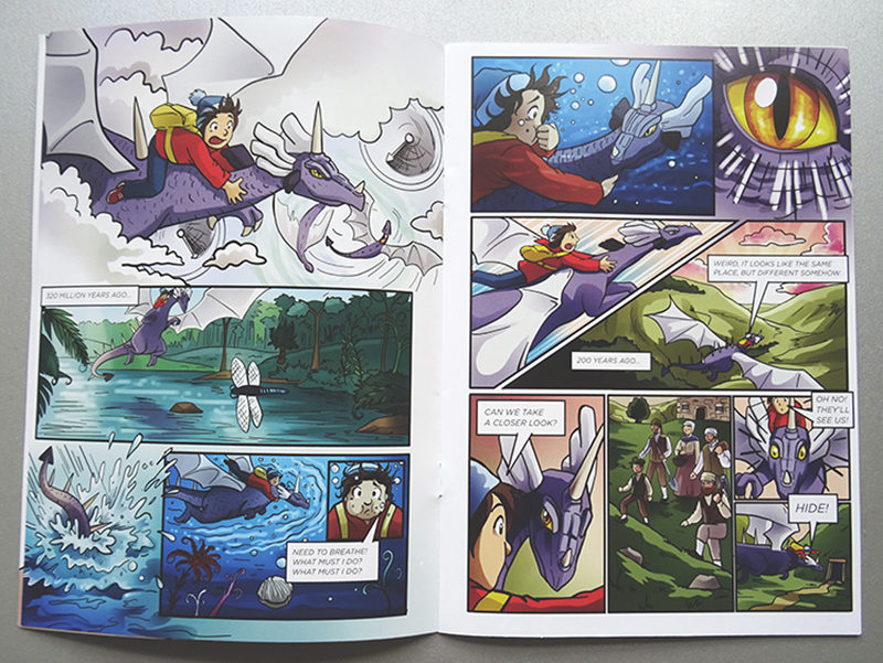 Colour spread from the printed comic.