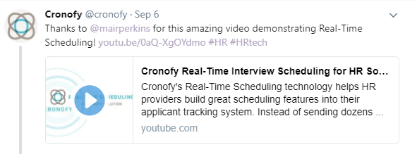 Tweet from Cronofy about their animation