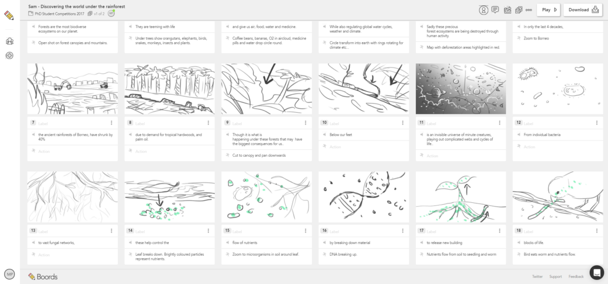 Sketched storyboards and animatic