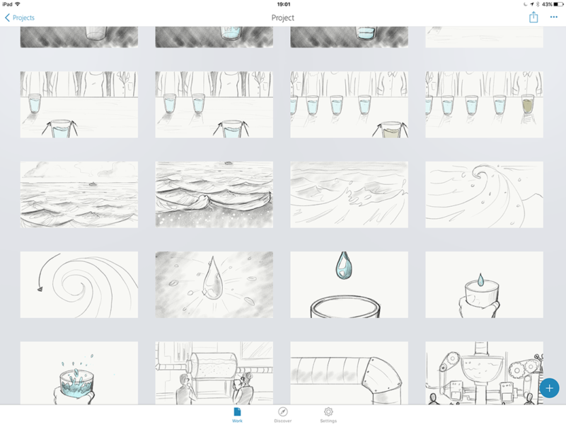 Storyboard clean up in Adobe Sketch on an iPad Pro.