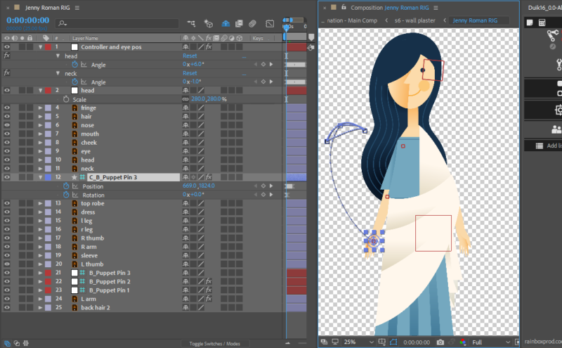 Jenny character rig with Duik in After Effects