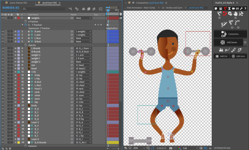 Javid character rig with Duik in After Effects