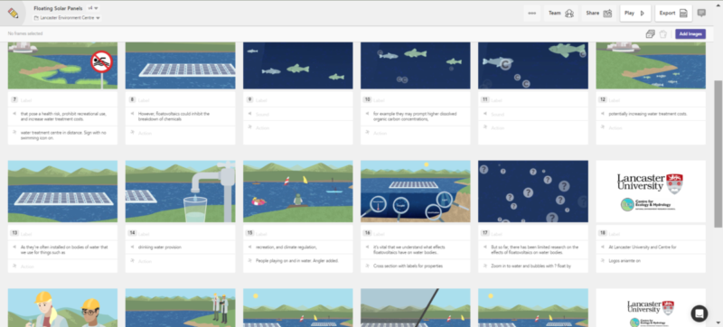 Illustrated storyboards for floating solar research animation