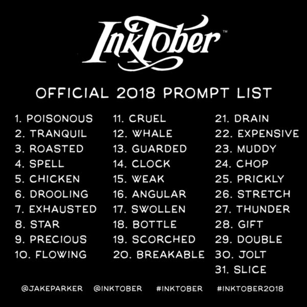 2018 Inktober prompt list
