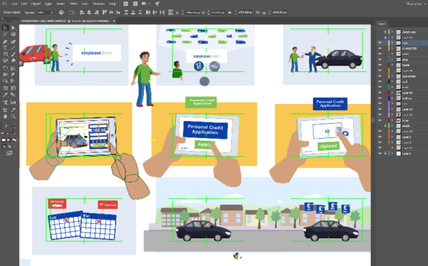 Storyboard design for Easy Lease Direct car rental explainer animation