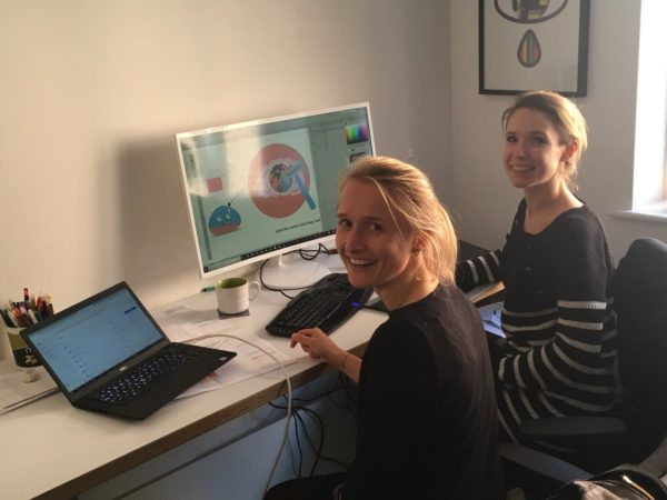 Mair and the researcher, Bettina, designing storyboards in Mair's office