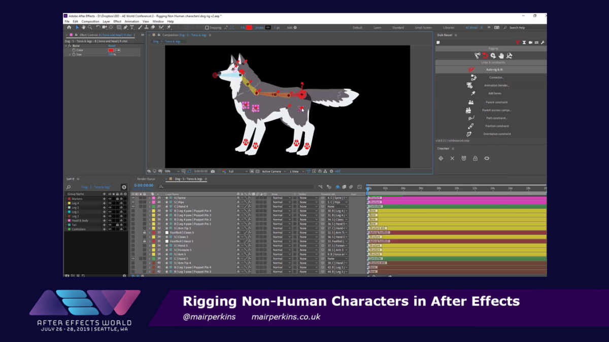 Slide from the non-human character rigging deck