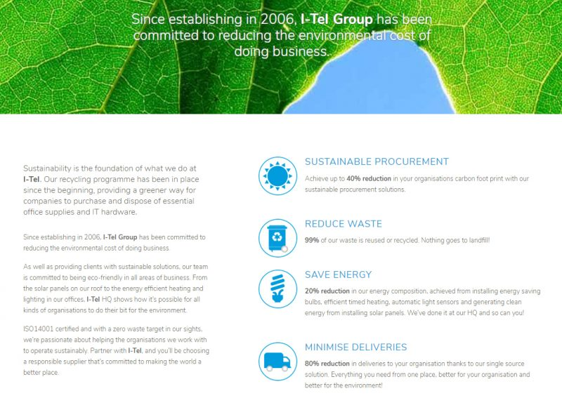 i-Tel's web page about sustainability