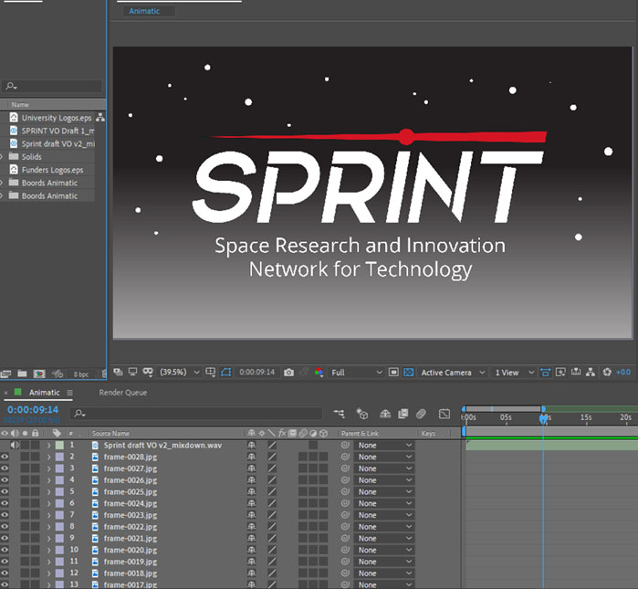 After Effects screen shot of animatic for SPRINT