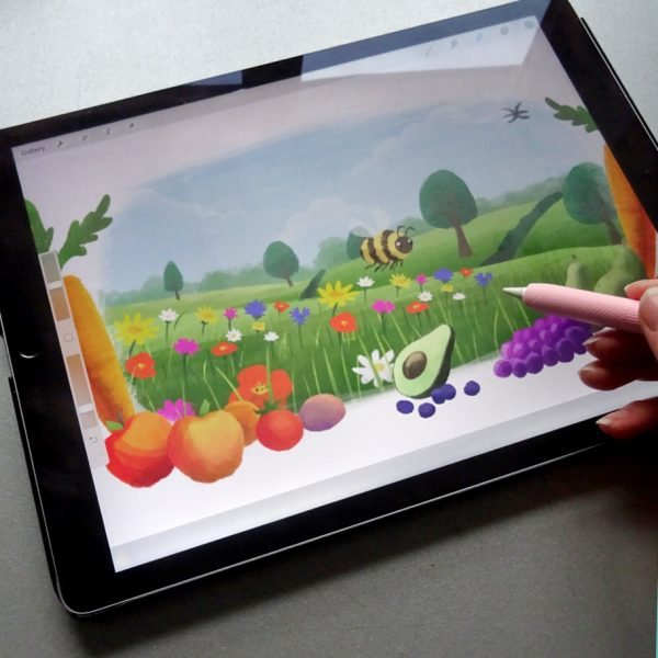 ipad illustrations for environmental research bee animation