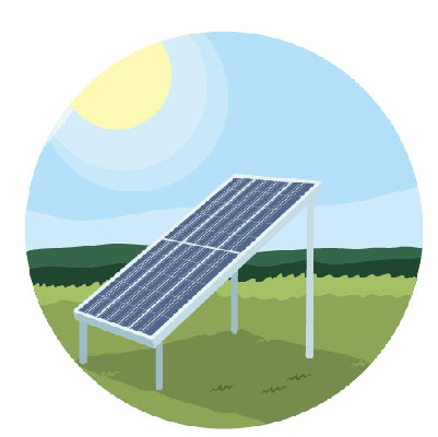 Illustration showing a solar panel with the sun and some shade cast.
