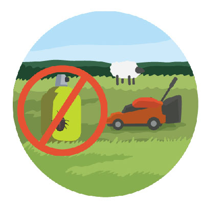 An illustration showing a lawnmower, grazing animals and no pesticides.