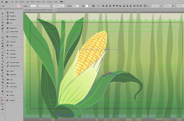 Style frame design. An illustration of a corn cob on a plant