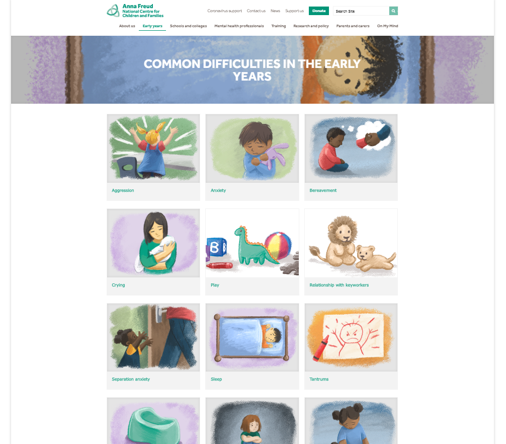Tiled illustrations on the Anna Freud website about common difficulties in early years children