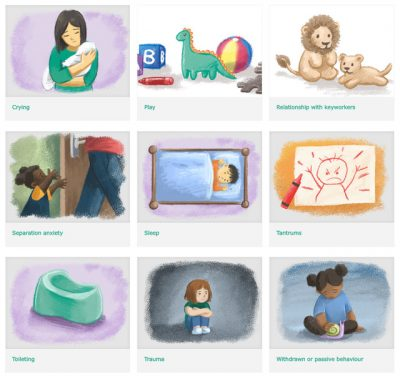 Tiled illustrations for Anna Freud website about common difficulties in early years children