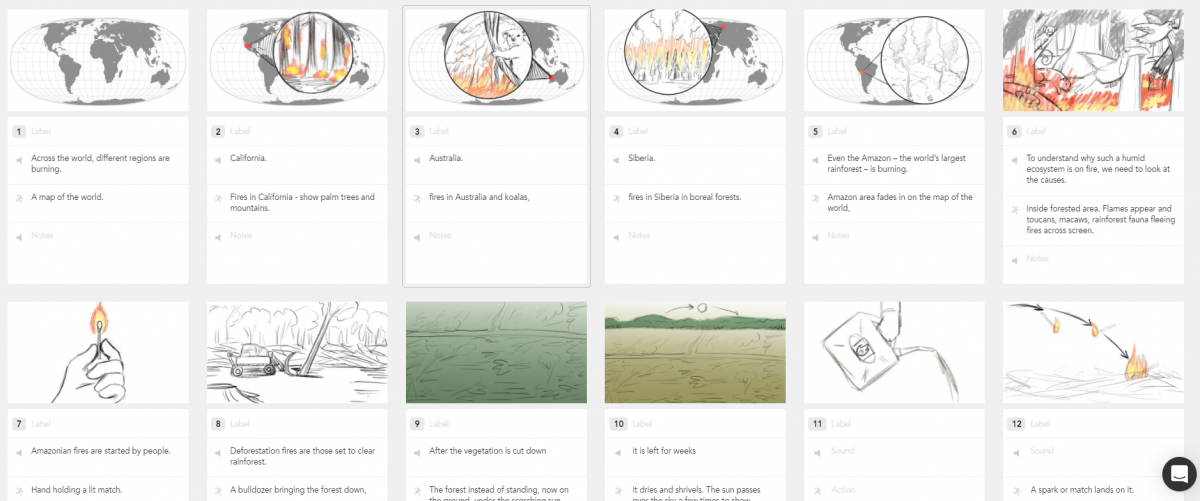 Amazon fire animation storyboard sketches